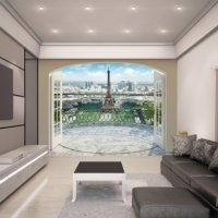 EIFFEL TOWER IN PARIS - WALLTASTIC®  3D FOTOTAPETA The View Collection (3589)